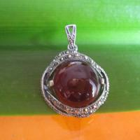 925 Silver Pendant with garnet and Marcasite,Thai silver jewelry