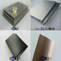 silver and golden brush finished aluminum composite panel