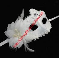 Elegant Flower and Feather Embellished White Mask of Christmas For Women