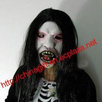 Halloween Masquerade Facial Long Wig Mask