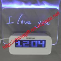 LED Luminous Message Board Digital Alarm Clock With Calendar 4 USB Hub