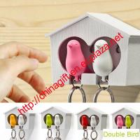 Plastic Double Birds House Whistle Finder Key Chains