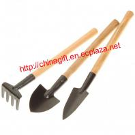 Mini Stainless Steel Round Shovel + Sharp Shovel + Spike-Tooth Harrow Gardening Tools Set